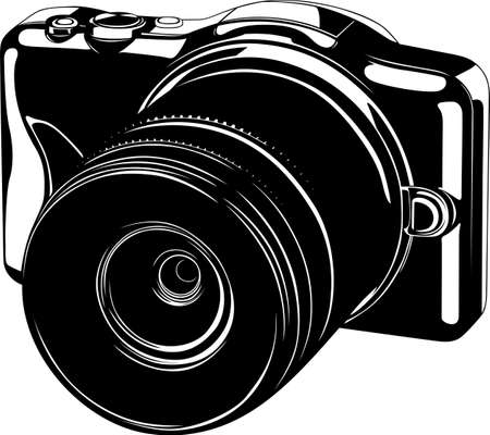 photograph:  Modern digital camera on white