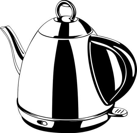 kettle: Electric kettle on white  Illustration