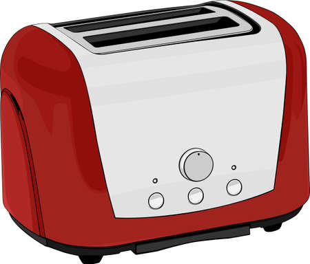 electric tea kettle:  Red and white toasting oven on white