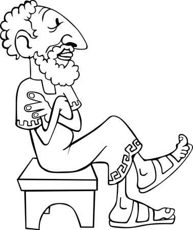 vieil homme assis: L'homme la pens�e de cru assis sur le banc sur blanc