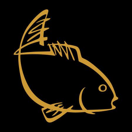 fish illustration: Fish on black background