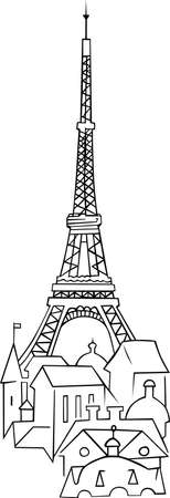Eiffel tower with houses on white Stock Vector - 10303641
