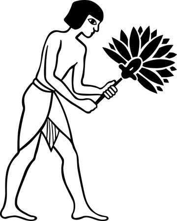 white fan:  Egiptian slave with fan on white