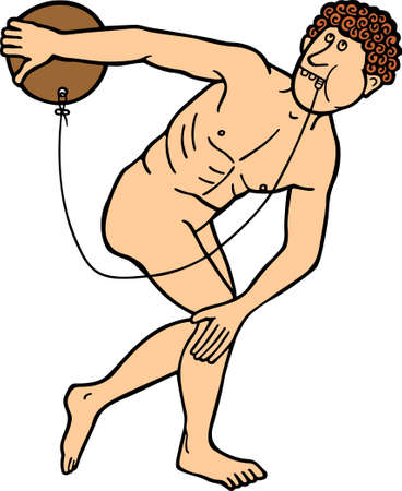 Discus thrower taking out a tooth on white  Vector