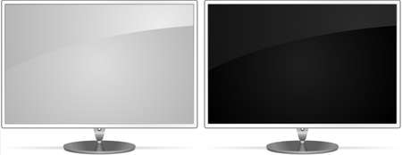 Two modern lcd monitors on white  Stock Vector - 10311354