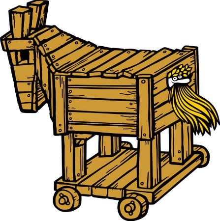 cavallo di troia: Cavallo di Troia su bianco Vettoriali