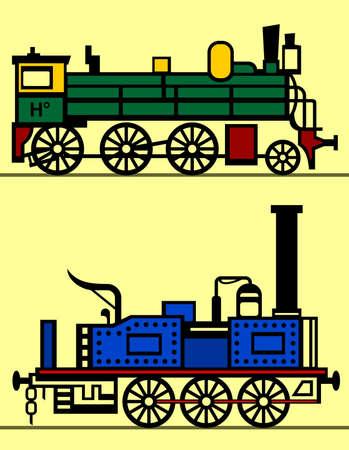 steam locomotives: Steam locomotives on yellow  Illustration