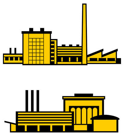 accelerate: Two  factories on white  Illustration