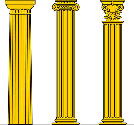 doric:  Three yellow columns on white  Illustration