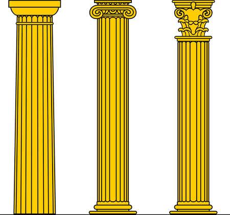 columna corintia:  Tres columnas amarillas sobre fondo blanco  Vectores