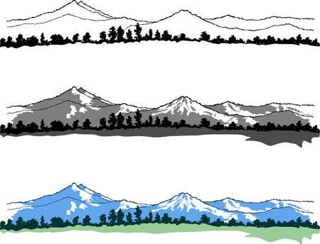 mountain peaks: Mountains landscape on white  Illustration