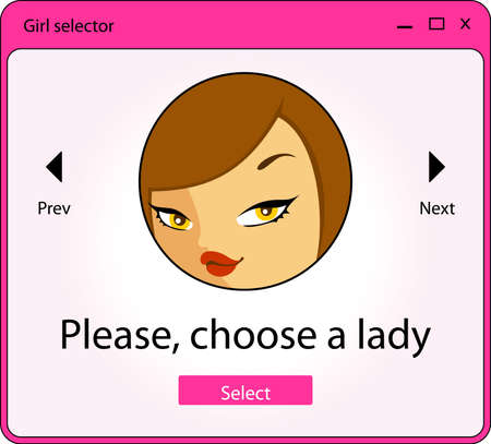 selector: Computer window with girl selector