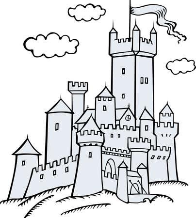 Kasteel op wit Vector Illustratie
