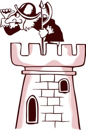 cartoon warrior:  Sentinella, affacciato sulla torre su sfondo bianco Vettoriali
