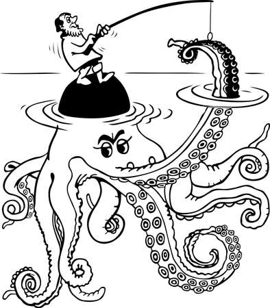 fishman: Fishman catching octopus on stone in water on w Illustration