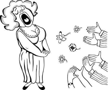 applause: Opera singer on stage on white Illustration