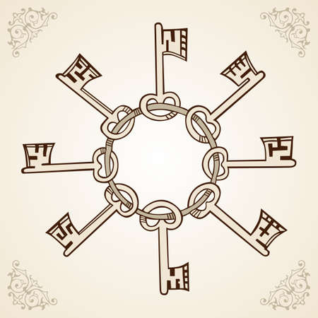 antique key: Medieval keys on ring on light brown  Illustration