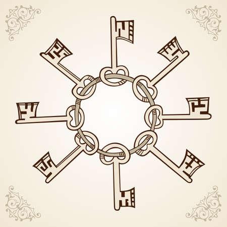 key chain: Medieval keys on ring on light brown  Illustration