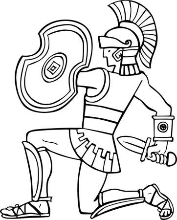 Ancient soldier isolated on white  Vector