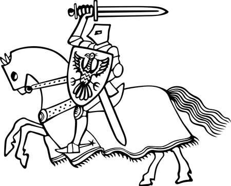 Knight on horse on white  Illustration