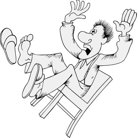 falling man: Man falling from chair on white