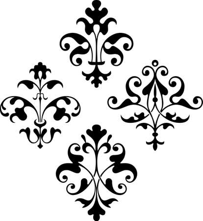 baroque style: Design elements on white Illustration