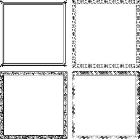 corner border: Elegance frames on white