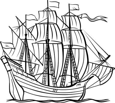 Ship caravel on white  Illustration