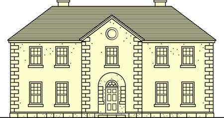 two storey: Building on white