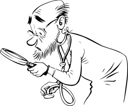 jokes: Doctor looking through a loupe on white