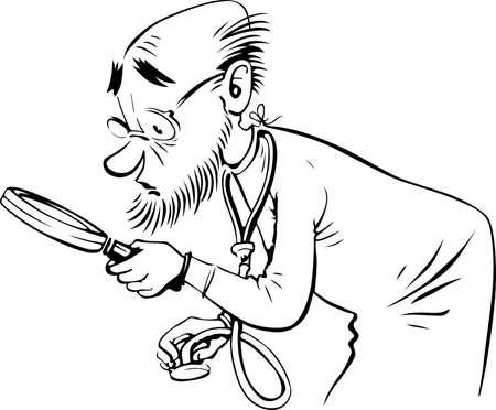 hombre caricatura: Doctor mirando a trav�s de una lupa en blanco