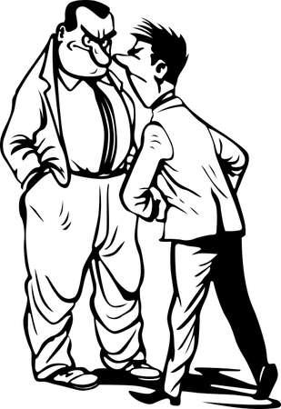 Two quarreling men on white