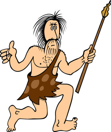 primitive: Man with pike on white Illustration