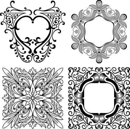 ink art: Design elements on white Illustration