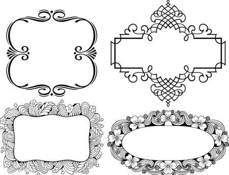 corner decoration: Decorative frames on white Illustration