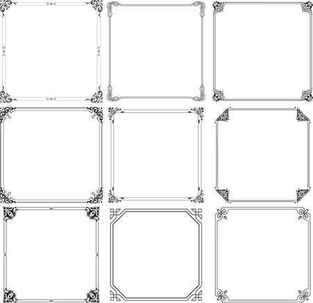 Decorative frames on white Illustration