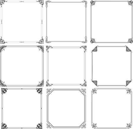 marco blanco y negro: Marcos decorativos en blanco Vectores