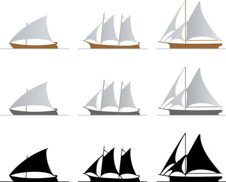 galley: Sailboats on white