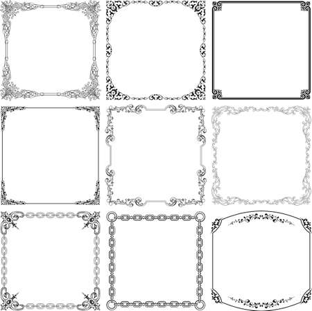 christmas decorations: Decorative frames on white Illustration
