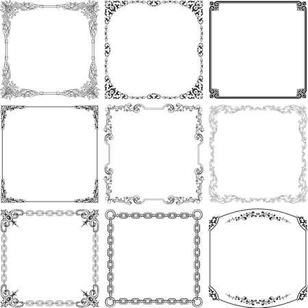 art deco frame: Decorative frames on white Illustration