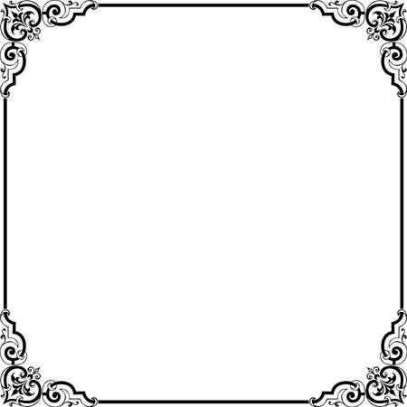 black and white frame: Decorative frame on white
