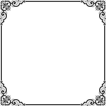 black borders: Decorative frame on white