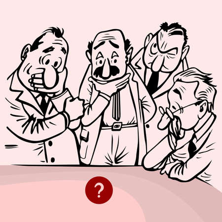 rosy:  Men thinking of big question on rosy background