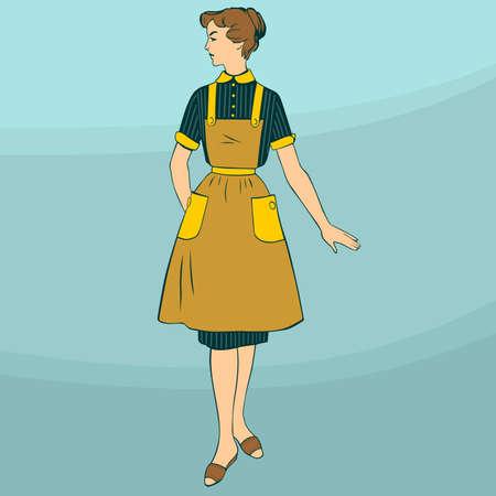 ama de casa: Ama de casa estereotipada sobre fondo azul claro Vectores