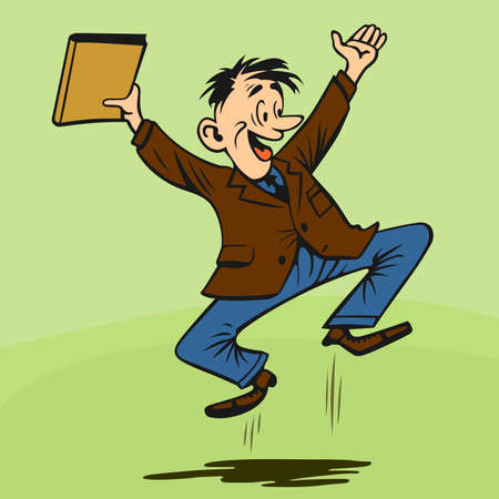 businessman jumping:  Excited businessman with binder on light green background Illustration