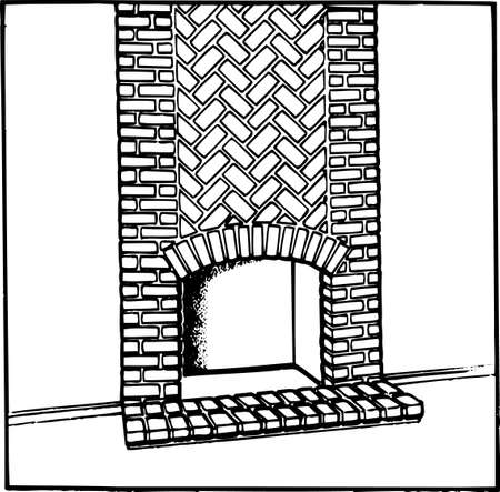 building fire: Fireplace on white Illustration