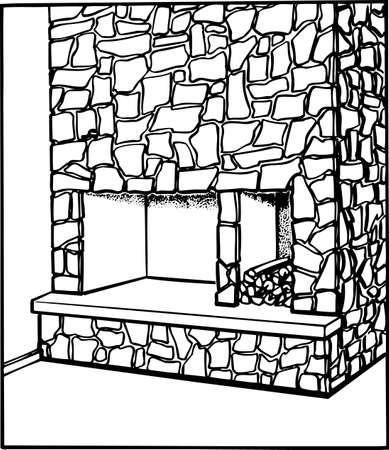 Fireplace on white Vector