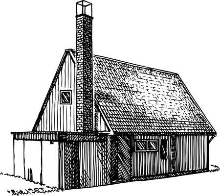 rural house: House on white