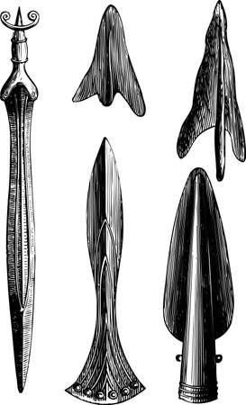 spears: Ancient tools on white Illustration