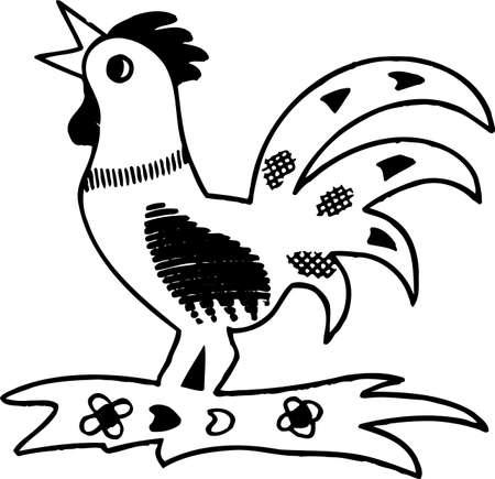 rekodzielo: Rękodzieło kogut na białym Ilustracja